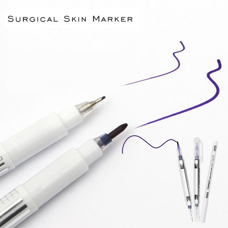 White Surgical Eyebrow Tattoo Skin Marker Pen Tool Accessories Tattoo Marker Pen With Measuring Ruler Microblading Positioning