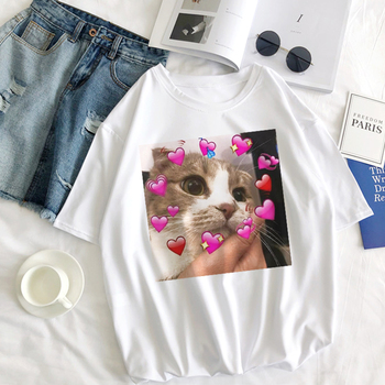 Kawaii Cute Cat Love Women T-shirts Harajuku Print Top Female T Shirt Summer Tees Fashion White Clothes O-neck Lady Tops Shirts