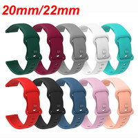 20mm 22mm cinturino di ricambio in Silicone colorato per Samsung Galaxy Watch Active Gear S2 S3 Huawei Amazfit Bip Bracelet