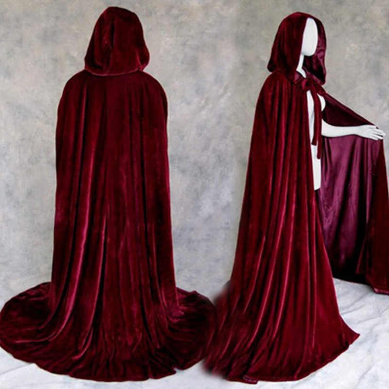 Halloween Costumes For Women Men Fancy Cloak Velvet Hooded Adult Witch Long Purple Green Red Black Halloween Cloaks Hood Capes
