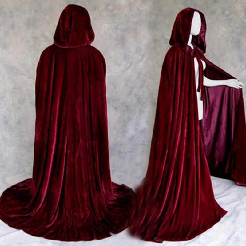 Halloween Costumes For Women Men Fancy Cloak Velvet Hooded Adult Witch Long Purple Green Red Black Halloween Cloaks Hood Capes