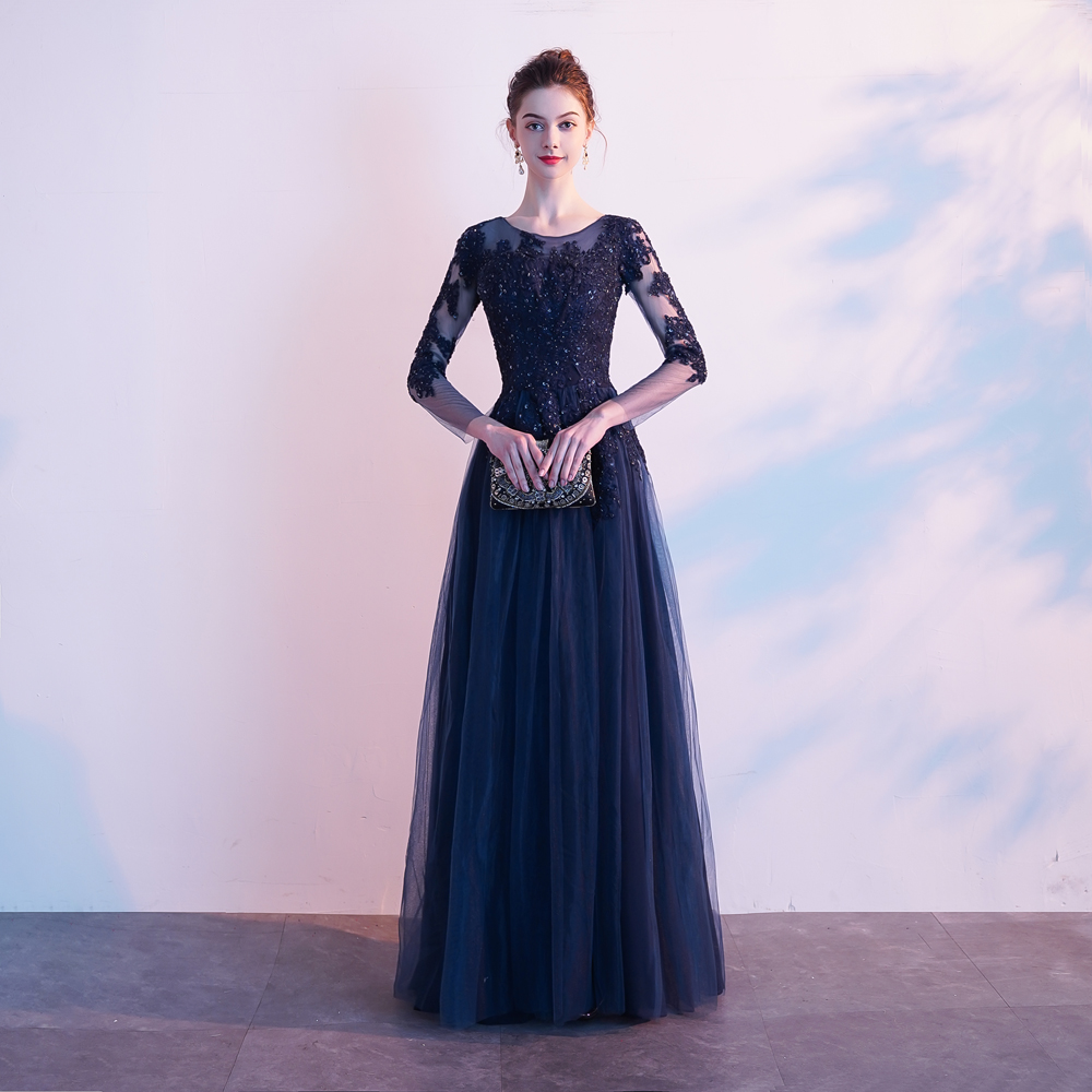 Nouveau femmes robe formelle dentelle maille 3/4 manches robe complète soirée bal robe de bal Sexy longue Maxi robe