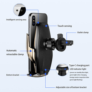 Image 5 - 15W Automatic Clamping Qi Wireless Car Charger For iPhone 12 11 XS XR X 8 Samsung S20 S10 Sensor Fast Charging Car Phone Holder