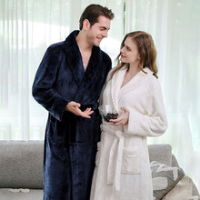 Women Bathrobe Lengthened Plush winter flannel stitching nightgown long XL thick men and women couple pajamas bathrobe