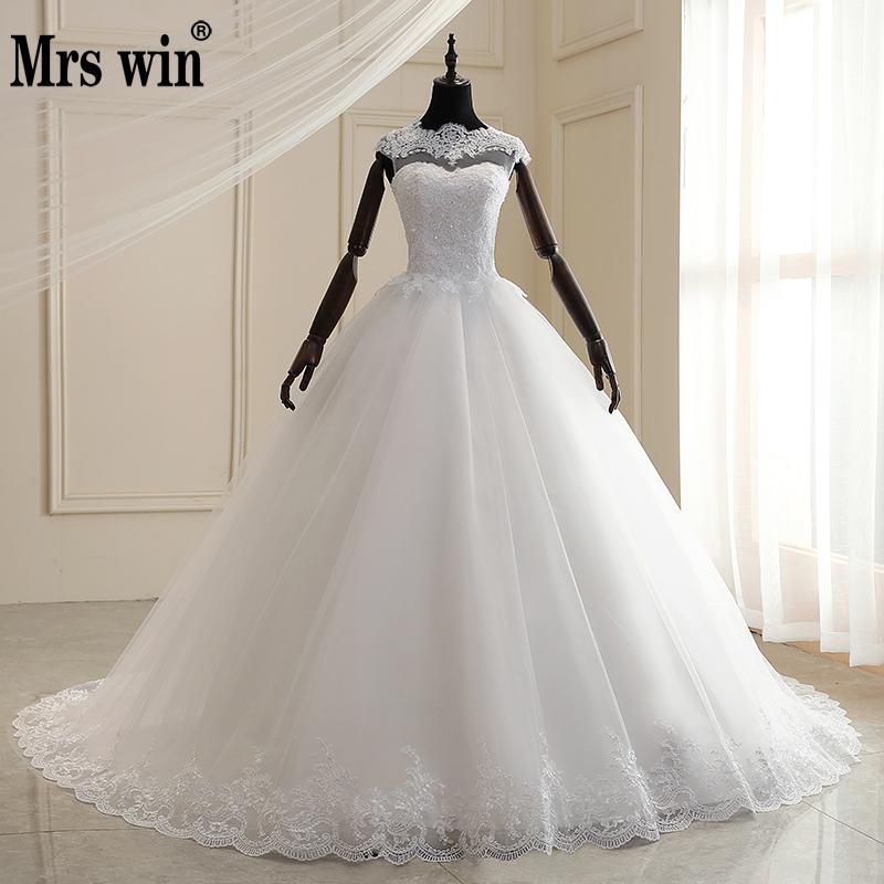 Mrs Win Wedding Dress 2020 New O-neck Lace Up Ball Gown Princess Luxury Lace Wedding Gown Classic Romantic Wedding Dresses