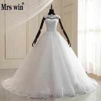 Mrs Win Wedding Dress 2020 New O neck Lace Up Ball Gown Princess Luxury Lace Wedding Gown Classic Romantic Wedding Dresses