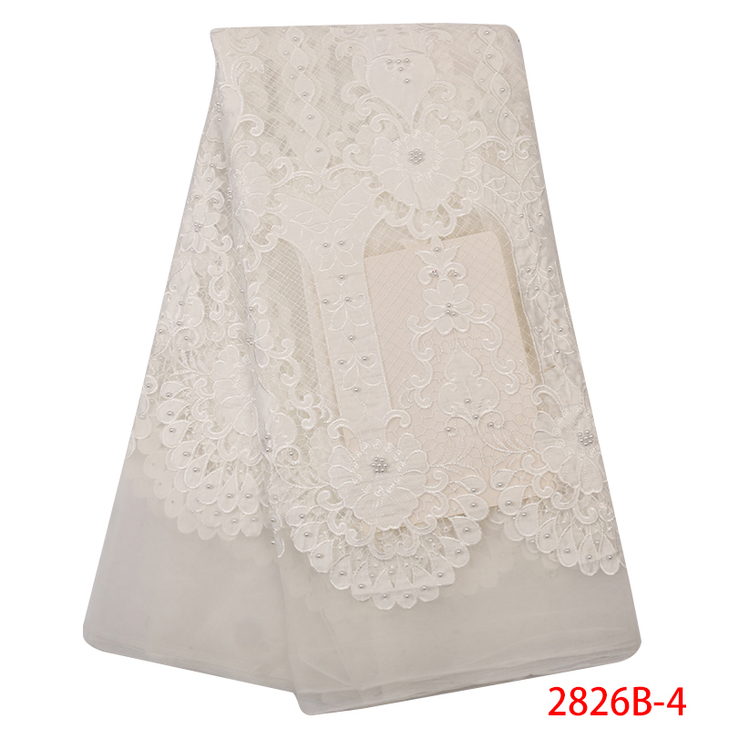African Lace Fabric 2019 High Quality Lace Beaded Velvet Tulle Lace Fabric Nigerian Wedding Fabric Lace With Beads KS2826B-4