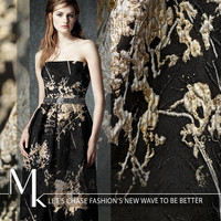 100x140cm/piece Three dimensional concave convex black bottom gold jacquard fashion fabrics gold silk relief fabric
