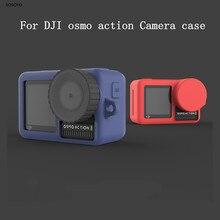 Capa protetora de silicone macio + tampa de proteção, proteção de lente para dji osmo action sports câmera, acessórios esportivos em 6 cores