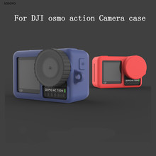 Morbida Custodia protettiva in silicone + copertura di protezione della Lente Cap Per DJI Osmo Action Macchina Fotografica di Sport Accessori 6 colori