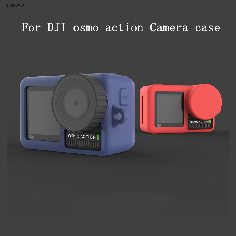 Soft silicone Protective Case + Lens protection cover Cap For DJI Osmo Action Sports Camera Accessories 6 colors