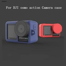 Yumuşak silikon koruyucu kılıf + Lens koruma kapağı kapağı için DJI Osmo eylem spor kamera aksesuarları 6 renkler