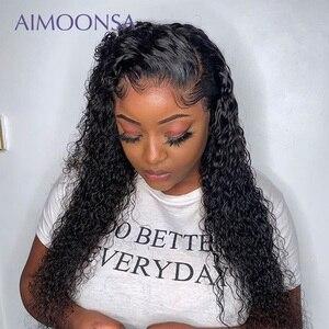 Image 5 - Прозрачный кружевной парик, кудрявые волосы 360, фронтальная кружевная часть, предварительно отобранные волосы, бразильские передние человеческие волосы, парики Aimoonsa Remy