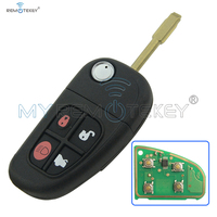 Flip remote car key 4 button FO21 key blade 4D ID60 chip 434 Mhz for Jaguar XJ XJR S X type 2002 2009 remtekey
