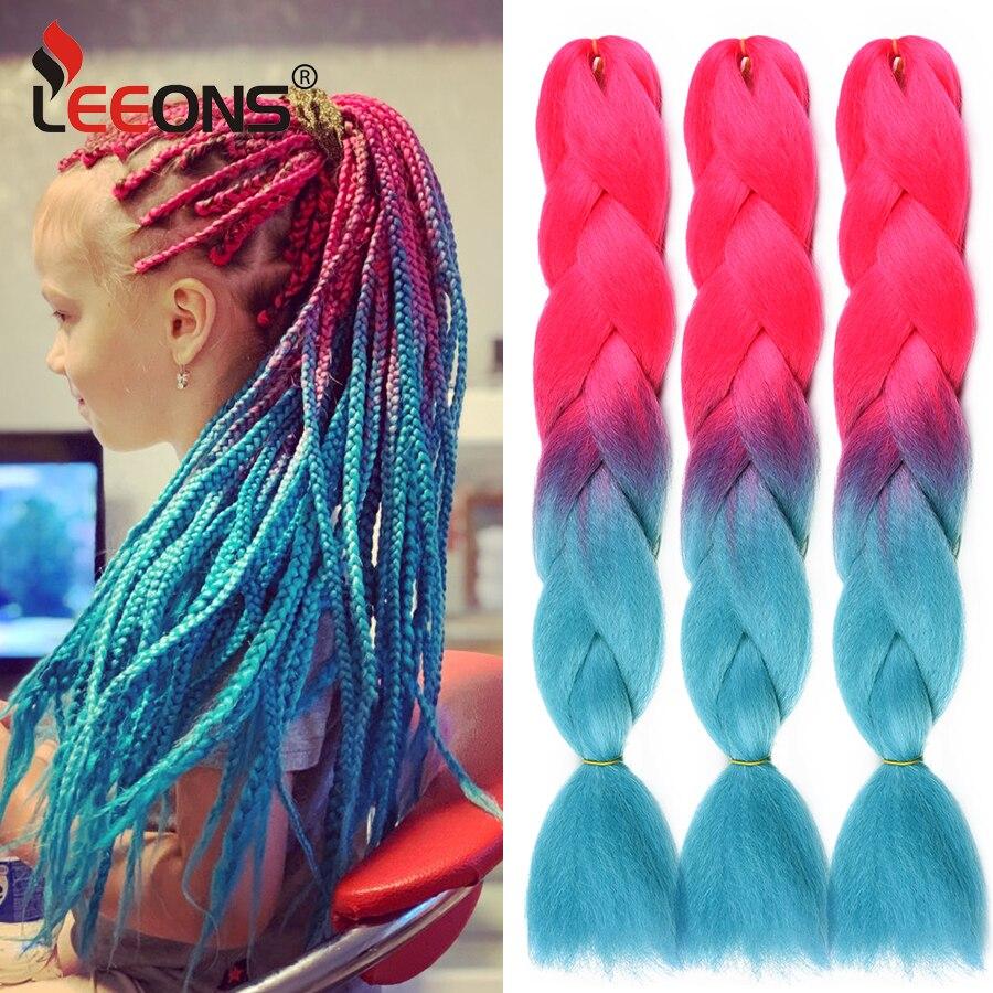 Leeons-Extensión de cabello de ganchillo trenzado para niña, 100G, 24 Jumbo pulgadas, pelo trenzado de arco iris, cabello sintético preestirado