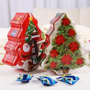 Christmas Tree Shaped Tin Case Christmas Santa Claus Biscuits Candy Storage Tin Box Metal Snowman Printed Sealed Jar Organizer
