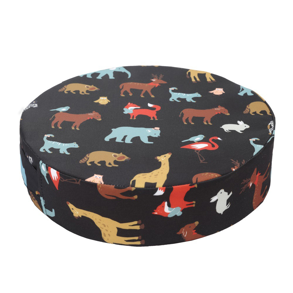 Heightening Home Booster Seats Dismountable Thickened Dining Animal Printed Chair Cushion Round Shape Kids Mats With Strap
