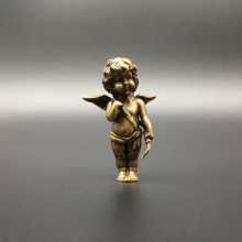 цены Collection Chinese Copper Carved Cupid, The God Of Love Little Angel Curly-haired Boy Exquisite Small Statue