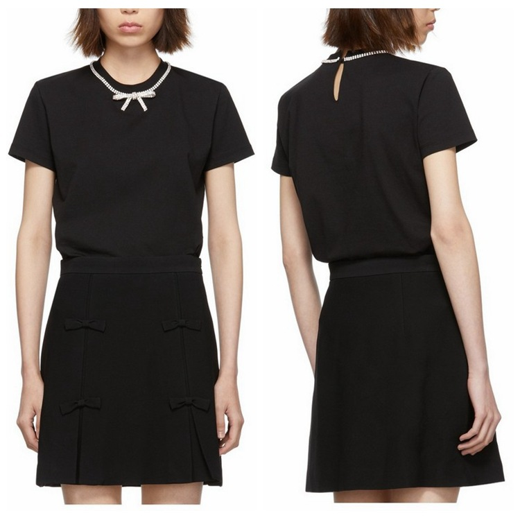 2020 Spring Summer Beading Bow Black Short Sleeve T-Shirt Loose Top Women's High Waist Skirt Short Skirt Suit