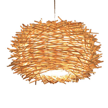 30CM LED Hand-Woven Rattan Lampshade Personalized Chandelier Corridor Living Room Cafe Shop Dining