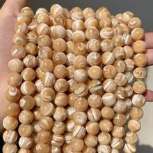 Natural Trochus Shell cuentas redondas de piedras cuentas espaciadoras sueltas para fabricación de joyería DIY pulsera collar 15 ''elegir tamaño 4/6/8/10mm