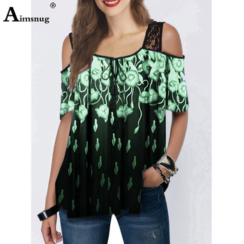 цена на 2020 Plus size 5xl Women New Fashion Lace Top Square Collar Boho Tee shirt Short Sleeve Floral Print Female Casual Loose T-shirt