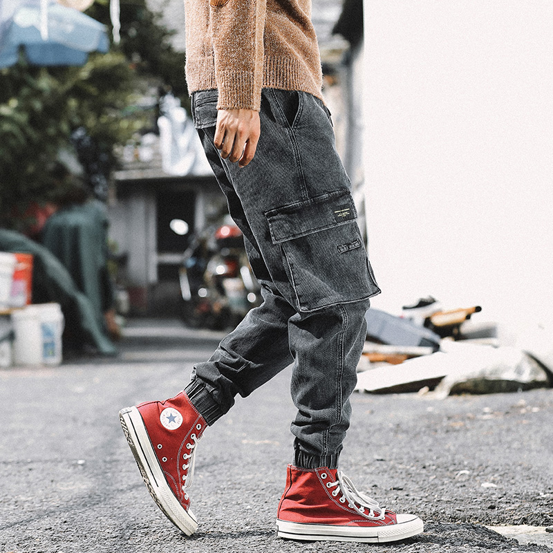 Korean Style Fashion Men Jeans Loose Fit Black Gray Big Pocket Cargo Pants Harem Trousers Streetwear Hip Hop Joggers Jeans Men