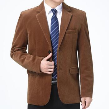 Middle-aged jacket men Corduroy blazer casual clothes spring autumn casaco jaqueta masculina coats mens suit b284
