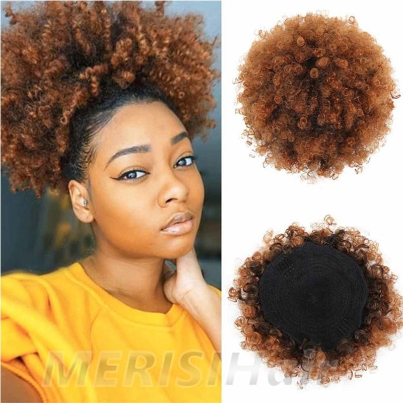 MERISIHAIR Drawstring Puff Bun Afro Black Red African American Chignon Bun Hair Pieces 1pc Hair Accessories