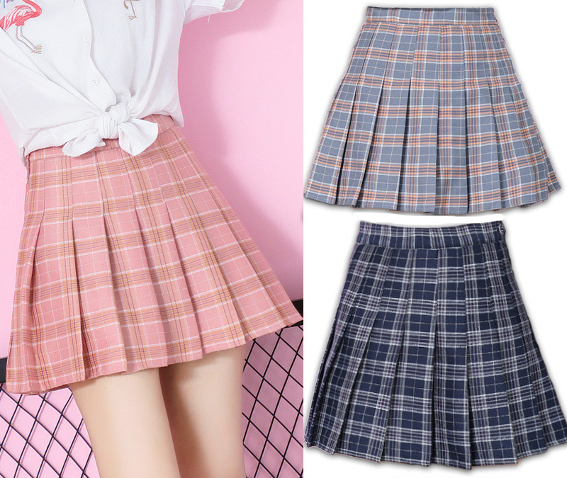Large Size Lattice Pleated Skirt A Word Short Skirt Autumn And Winter Female Japanese College Wind Skimmer Shaking Sound Ins Sup