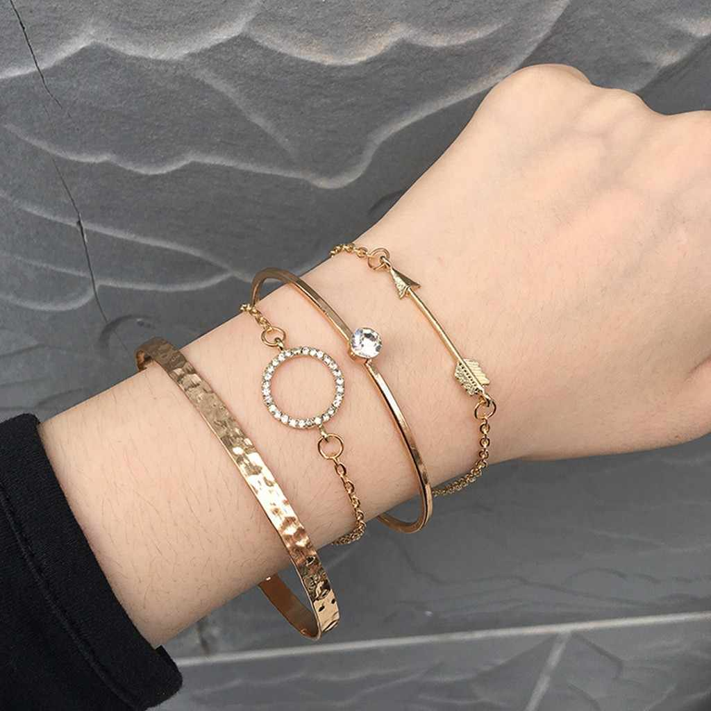 Bangle Simple Faux Crystal Round Design Jewelry 4Pcs Open Wire Adjustable Bracelets Bangles Gold Bracelets Bangles Women Girl