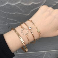 4Pcs Simple Faux Crystal Round Bangle Design Jewelry Girl Women Open Wire Adjustable Bracelets Bangles Gold Bracelets Bangles(China)