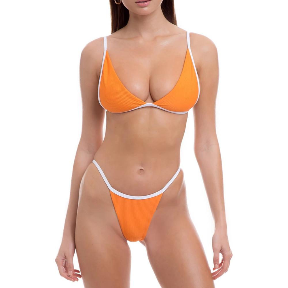 Sexy Triangle Bikini Set New Women Solid Swimwear Breathable Two-piece Swimsuit Combined Color Lady Beachwear Bathing Suit