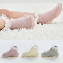 Baby Lace Foot Socks Shoes Comfort Kids Toddler Soft Rubber