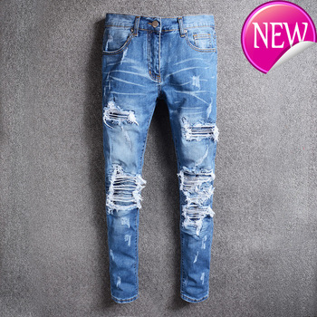 pleated Men's blue patchwork hole ripped biker jeans for motorcycle Casual slim skinny distressed stretch denim pants