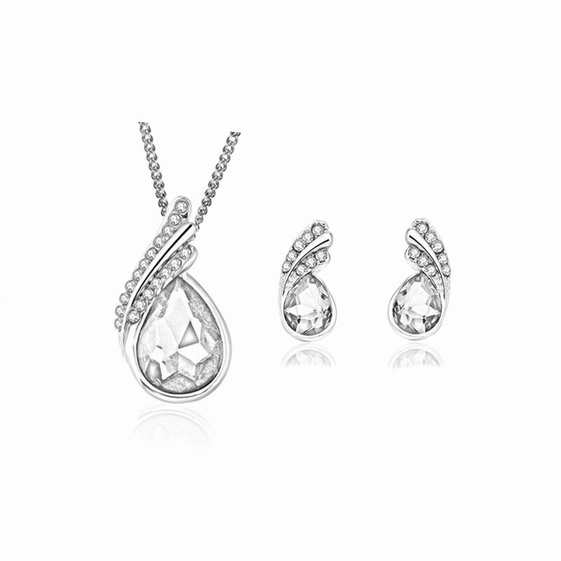 QiLeSen Fine jewelry set 925 sterling silver suitable for ladies wedding white crystal set necklace earrings set yw019