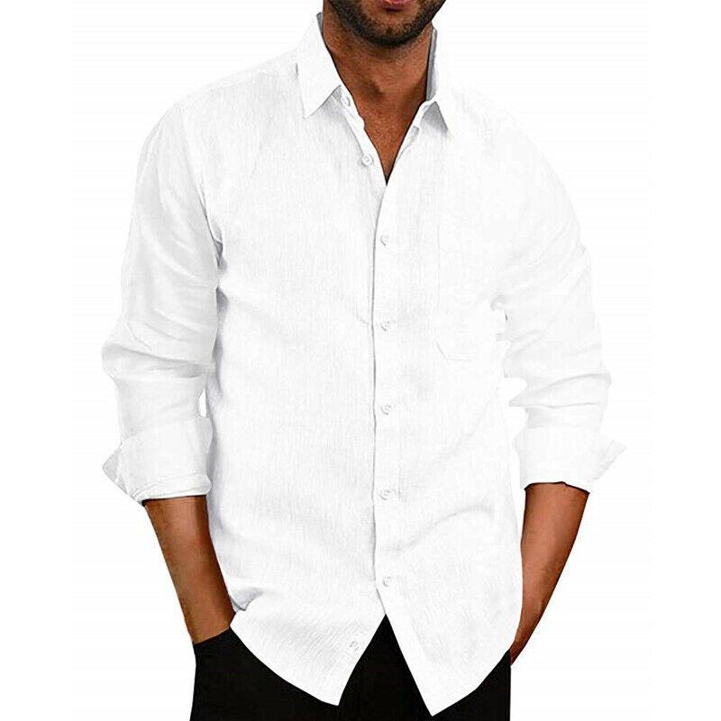 Men Summer Linen Slim Long Sleeve Shirt Casual Shirt Tops Blouse S-XXL Camisas Para Hombre Off White Social Shirt Men