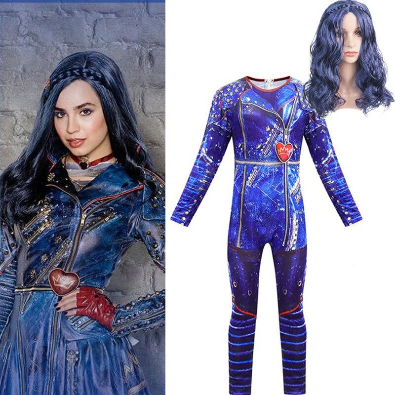 Descendants 3 Evie Jumpsuits Blue Wig Cosplay Costume 3D Printed Halloween Descendants3 Kids Girls Costumes