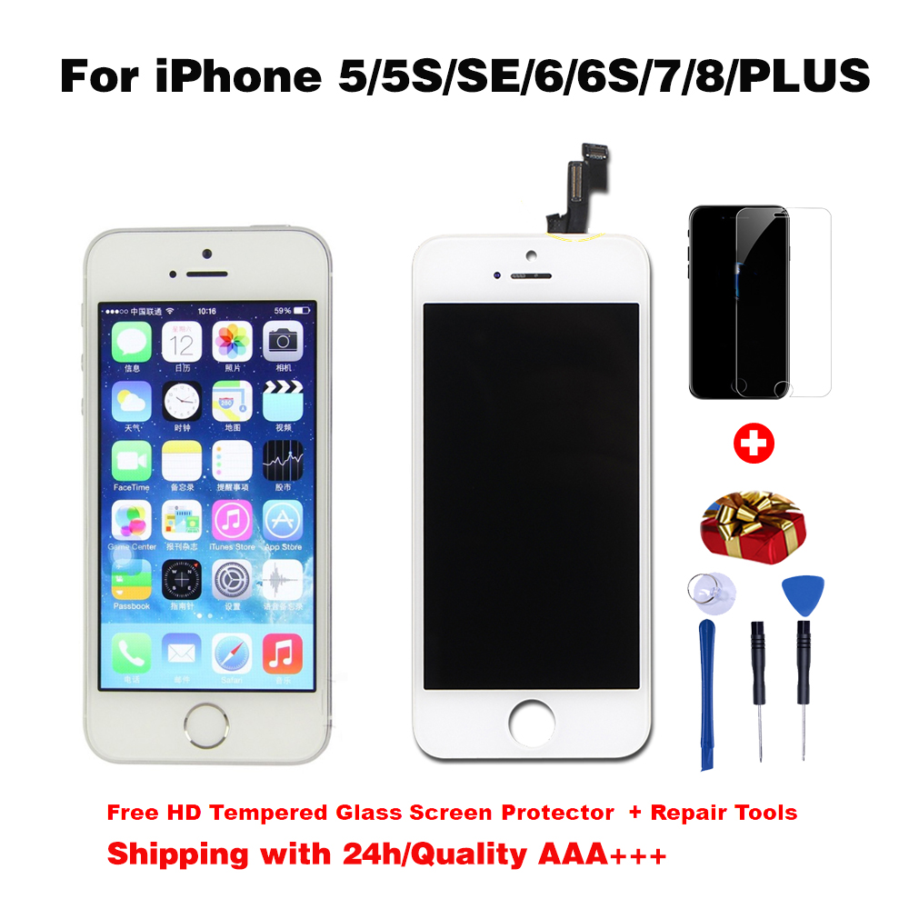 AAA+++LCD Display For iPhone 6 7 8 6S Plus Touch Screen Replacement For iPhone 5S SE No Dead Pixel+Tempered Glass+Tool+TPU case(China)