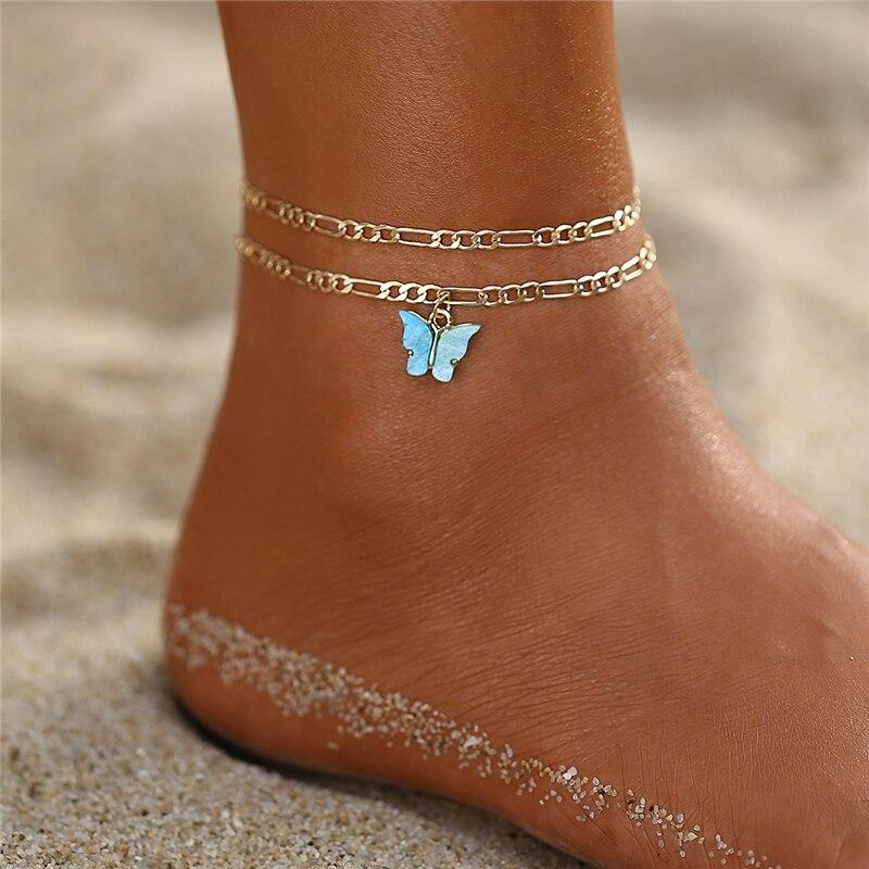 Bohemian Butterfly Anklets For Woman,Vintage Handmade Tassel Beads Beacch Anklet Ankle Bracelet Leg Foot Bracelet Jewelry
