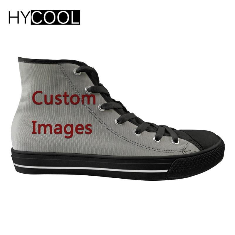 Imagem do Logotipo Sapatos de Caminhada ao ar Tênis para Sapatos Hycool Bem-vindo Personalizado Mulheres Livre Alta Superior Esportivos Lona Feminina Senhoras Plana Sua