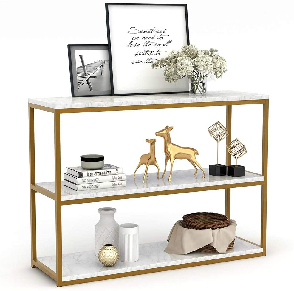 Tribesigns 3-Tier Console Table, Gold Sofa Entry Table With Faux Marble Top And Gold Metal Frame For Home