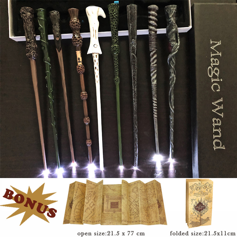 17 Kinds Of Potters Magic Wands Sirius Hermione Dumbledore Harried Light Magic Wand With Gift Box Packing 1 Marauder's Map Gift