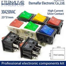 KCD4電気溶接機スイッチ船型スイッチ赤色光30A 250v ac電気オーブン電気ヒータースイッチ4PIN T8555