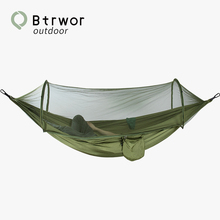 Btrwor Mosquito Net Hammock Outdoor Anti-mosquito Automatic Quick Open Portable Pop-Up Lightweight nylon Camping Travel Sleeping