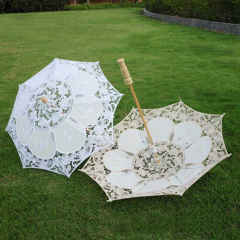 Small Wedding Umbrella Wooden Handle Embroidered Cotton Lace White Beige European-Style Wedding Photography Props Decoration