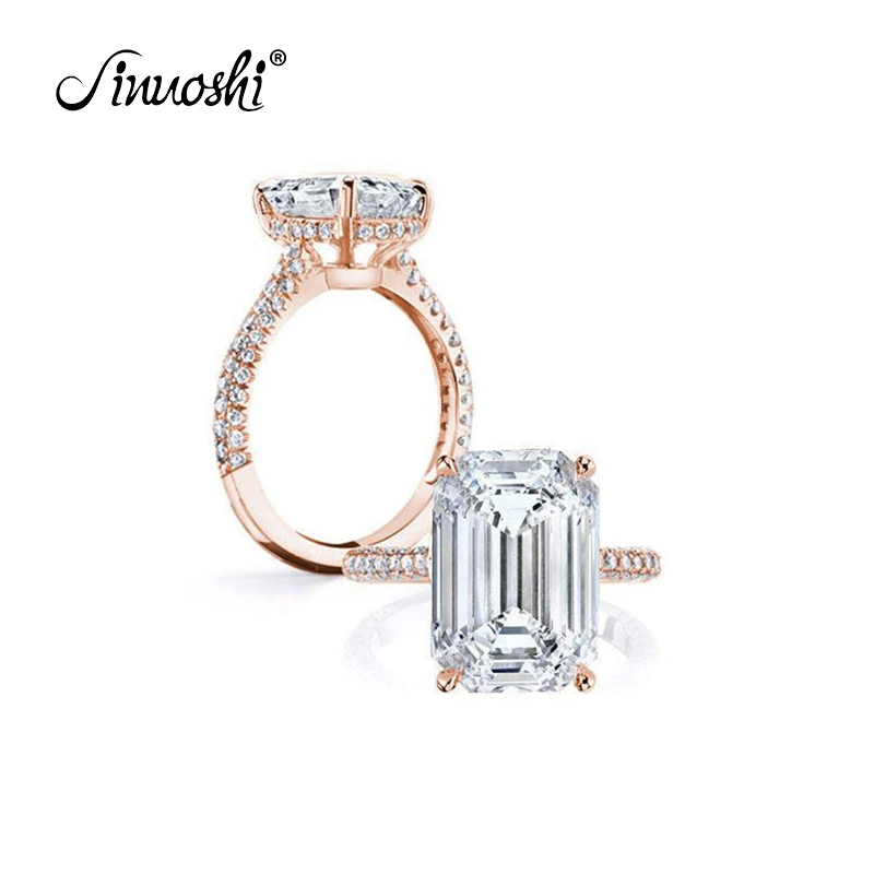 AINOUSHI 925 Sterling Silver Rings For Women 6ct Emeralded Cut Halo Rings Rose Gold Color Silver Jewelry Bague Femme Argent 925