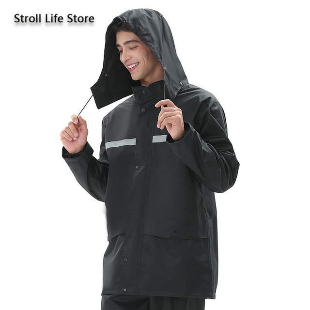Black Motorcycle Raincoat Jacket Rain Coat Waterproof Suit for Fishing Double Layer Thickened Rainwear Capa De Chuva Gift Ideas 2