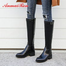 ANMAIRON 2019 Boots Women Winter Square Heel Short Plush Knee High Fashion Luxury Shoes Designers Size 34-43