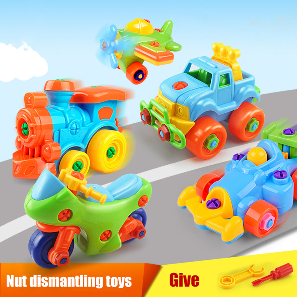 Kids Car Plane Train Tract Truck Model Installed Disassembly Motorcycle Kids Toys Learning EducationToy For Children Boy Gift